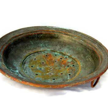 Farmhouse kitchen. Strainer. Colander. Metal strainer. Copper kitchen decor. Copper wall hanging. Verdigris. Vintage.
