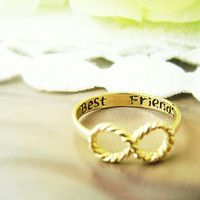 1piece Best Friends Ring Women's Infinity Ring Best Friend Engraved Ring Jewelry Gold Silver