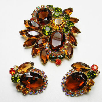 Juliana D&E Brooch Earring Set Topaz Brown Green Orange Rhinestones DeLizza Elster