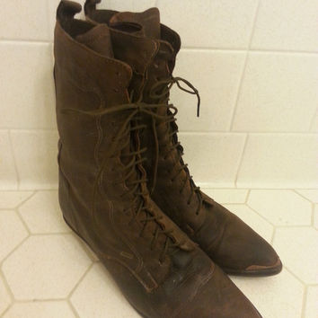 DINGO Western Style Granny Lace Up Boots Size 6.5