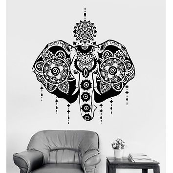 Vinyl Wall Decal Indian Elephant God Hinduism India Head Symbol Animal Stickers Unique Gift (803ig)
