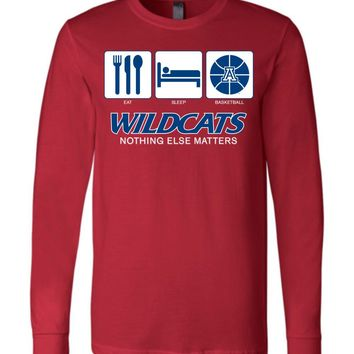 Official NCAA Venley University of Arizona Wildcats U of A Wilber Wildcat BEAR DOWN! Eat Sleep Basketball Nothing Else Matters Long Sleeve T-Shirt - uofa2433
