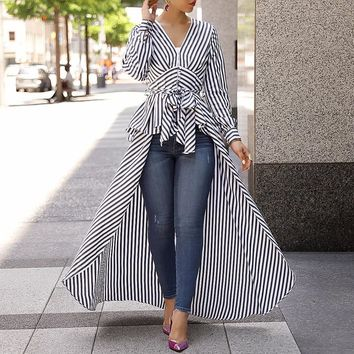 Long Tail V-Neck Top Striped Tie Waist Dip Hem Irregular Blouse
