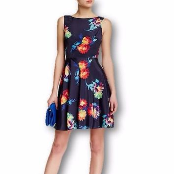 Betsey Johnson Scuba Floral Fit & Flare Dress