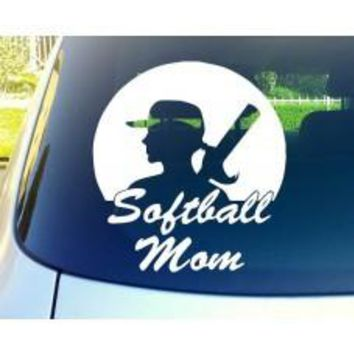 softball Mom Car Window Vinyl Decal Tablet PC Sticker
