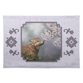 Wolf Pup and Flowers Cloth Place Mat