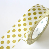 Gold Washi Tape BIG Dots 15mm Japanese MT Gold Masking Tape - PrettyTape
