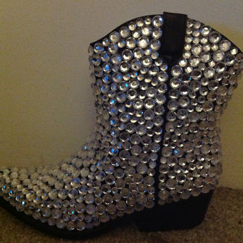 Size 6.5 Rhinestone Ankle Cowboy Boots - Ready to Ship