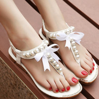 Free Shipping Women Sandals 2015 flip flop rhinestone shoes Women flat sandals with pearls women flats 4 colors