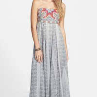Junior Women's Rip Curl 'Mi Amor' Print Embroidered Strapless Maxi Dress