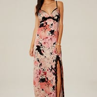 LACE TRIM SATIN MAXI DRESS