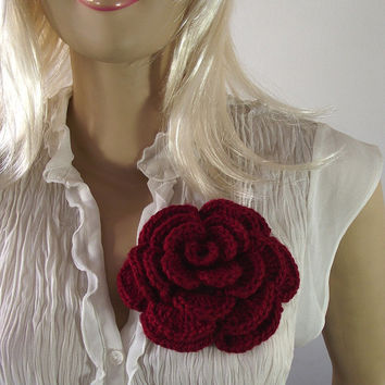 Crochet PATTERN Flower Pin Embellishment Brooch