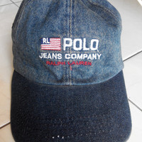 Rare Vintage POLO JEANS Rl Flag By Ralph Lauren Hat Caps