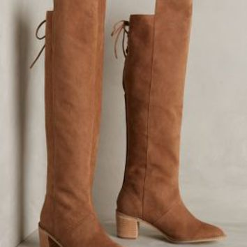 Miss Albright Lenka Tie-Back Boots by Anthropologie Moss