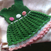 Baby Dress in Green and Peach , Baby Clothes, Child frock, Infant Clothes, Crochet Baby Dress, Newborn outfit ,Infant Dress