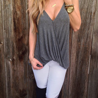 Grey Strappy V Neck Camisole
