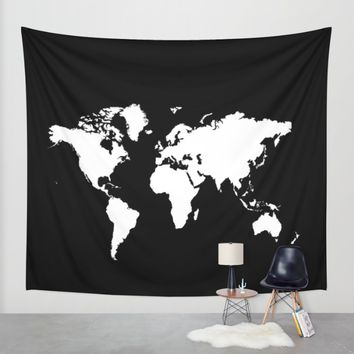 Black white world map Wall Tapestry by Haroulita | Society6