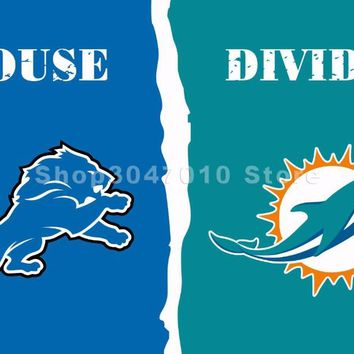 Detroit Lions VS Miami Dolphins House Divided Flag