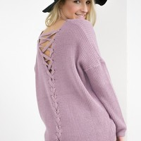 Cozy Lace Up Knit Sweater   Lavender