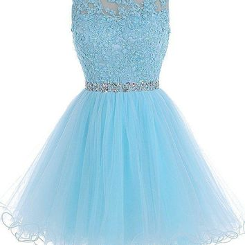 Baby Appliques Chiffon Beadings Homecoming Dress