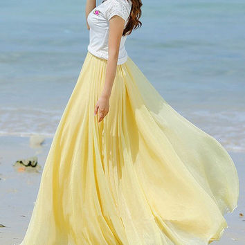 Yellow Chiffon skirt Maxi Skirt Long Skirt Maxi Dress Silk chiffon dress Women Silk Skirt Beach Skirt plus size dress Pleat skirt