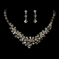 Classic Gold Plated Crystal Bridal Jewelry Set