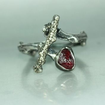 Twig Branch Gold Silver Ruby Organic Uncut Stone Woman's Statement Rustic Handmade Ring Branch Band Twig Ring