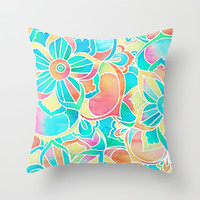 Sunsets & Cocktails - bright pastel watercolor floral design Throw Pillow by micklyn