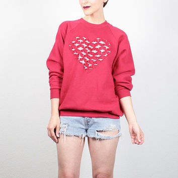 Vintage 80s Sweatshirt Red HEART Cut Out DIY Sweatshirt 1980s Upcycled Sweater Jumper Kawaii Heart Print Tshirt Pullover L Extra Large XL