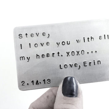 Just a Little Note For His Wallet Insert Card - For His Wallet - Anniversary Card - Your Own Message - For the one you LOvE - Gift For Him