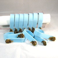 Vintage Blue Lucite Shower Curtain Hooks in Clear Lucite Box