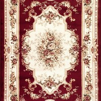 1057 Red Victorian Oriental Area Rugs