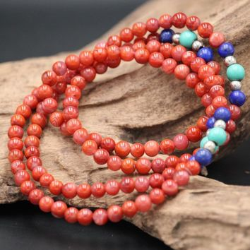 South Red Agate Beaded necklace Woman Jade necklace Red necklace