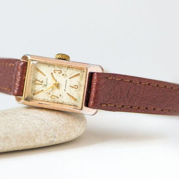 Rectangular women's Lyre, gold shade lady watch small, shabby ladies timepiece rare, petite lady watch, watch unique gift, leather strap new