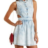Acid Wash Cut-Out Chambray Shirt Dress by Charlotte Russe