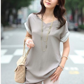 women summer tops S-XXL plus size loose Blouse chiffon cotton patchwork peplum long shirt Fashion blouses top = 1956788100
