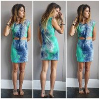 A Twisty Tie Dye Sundress in Aqua Love