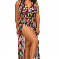 Plus Size Geo Print Double Slit Maxi Dress - Plus Size Dresses - Plus Size