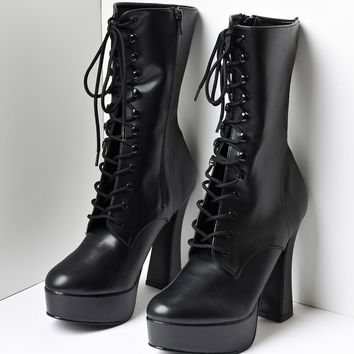 Black Faux Leather Lace Up Platform Ankle Boots