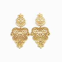 Golden Hollow Out Heart Shape Earrings
