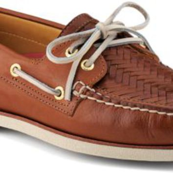 Sperry Top-Sider Gold Cup Authentic Original Woven 2-Eye Boat Shoe Tan, Size 8M  Men's Shoes
