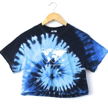 Love Revolution Ocean Tie-Dye Graphic Crop Top