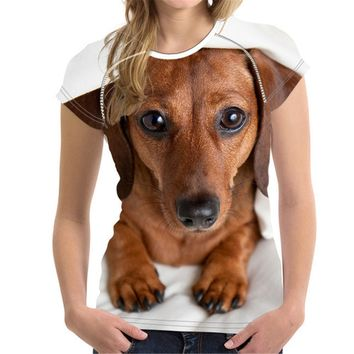 Dachshund Dog All-Over-Print T-Shirt - Ladies Tops