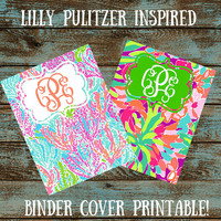 Custom Monogram Lilly Pulitzer Binder PRINTABLE - Personalize Binder - School Supplies - Name - Monogram Lilly - Pattern - Printable PDF