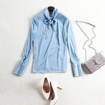 DCCKON3 solid silk turtleneck pullovers basic shirtsbrand runway Women sprint blouse bow long sleeve shirts
