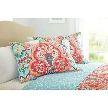 Better Homes and Gardens Jeweled Damask Quilt Collection, Sham Set - Walmart.com