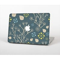 "The Slate Blue and Coral Floral Sketched Lace Patterns v21 Skin Set for the Apple MacBook Pro 13"" with Retina Display"