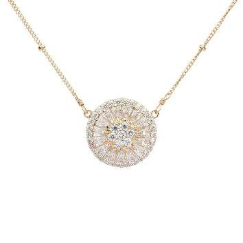 Large Pave CZ Disc Necklace