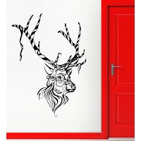 Vinyl Decal Christmas Deer Animal Reindeer Tribal Wall Stickers Mural Unique Gift (ig2122)