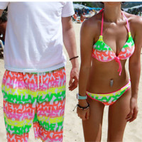 Fluorescence Colored Summer Vacation Shorts for Couples